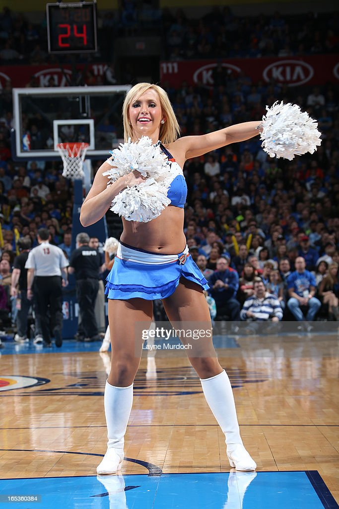 A member of the Oklahoma City Thunder dance team performd during halftime of the game against the Boston Celtics on March 10, 2013 at the Chesapeake Energy Arena in Oklahoma City, Oklahoma.