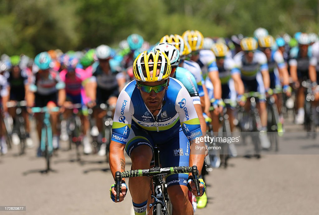 A member of the Orica Greenedge team heads the peloton to stage six of the 2013 Tour de France, a 176.5KM road stage from Aix-en-Provence to Montpellier, on July 4, 2013 in Montpellier, France.