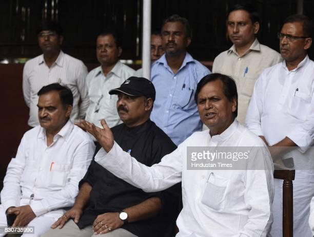 Member of the Parliament Rajya Sabha and JD senior leader Ali Anwar Ansari with his supporters and party workers addresses a press conference against...