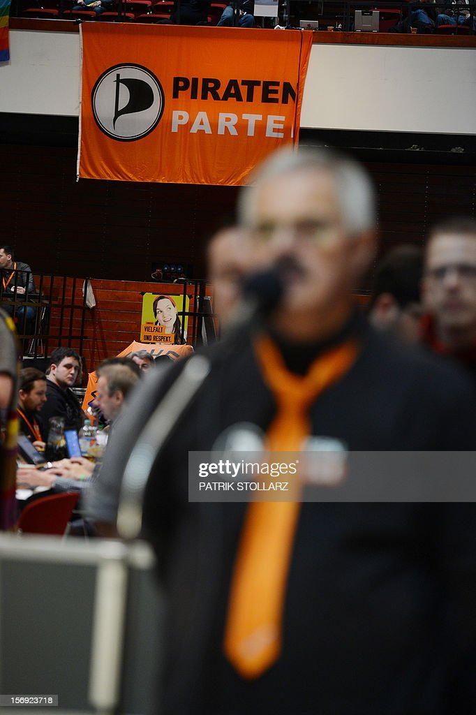 A member of the Pirate party speaks during a discussion at a party congress in Bochum, western Germany, on November 25, 2012. The Pirate Party is meeting for two days to prepare a party platform for the 2013 general elections.