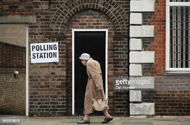 A member of the public arrives to cast her vote in the EU referendum at Royal Hospital Chelsea on June 23 2016 in London United Kingdom The United...