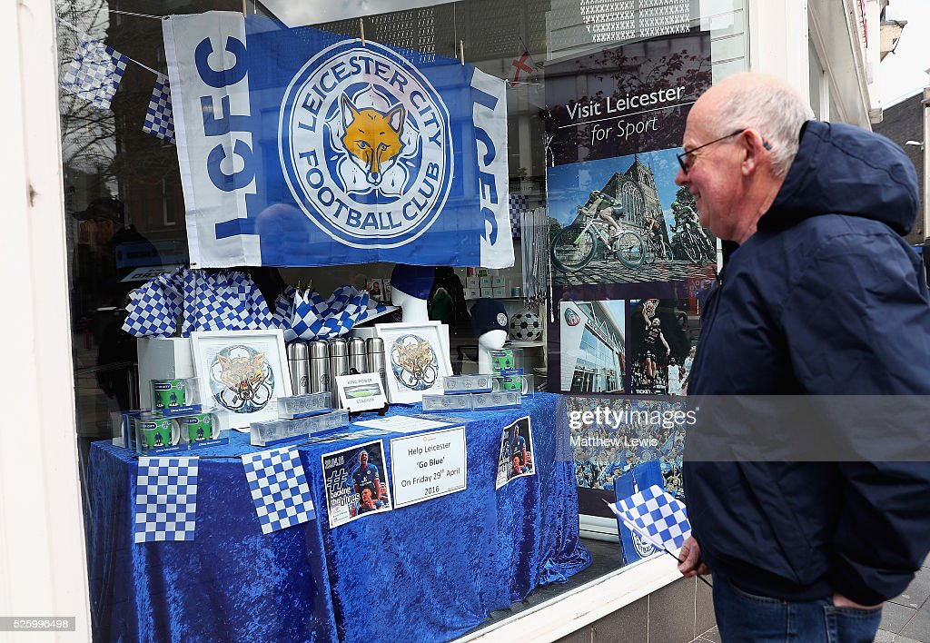 A member of the public looks on, as the Leicester Tourist information shows their support towards Leicester City FC during a Leicester Backing the Blues Campaign in support of Leicester City on April 29, 2016 in Leicester, England.