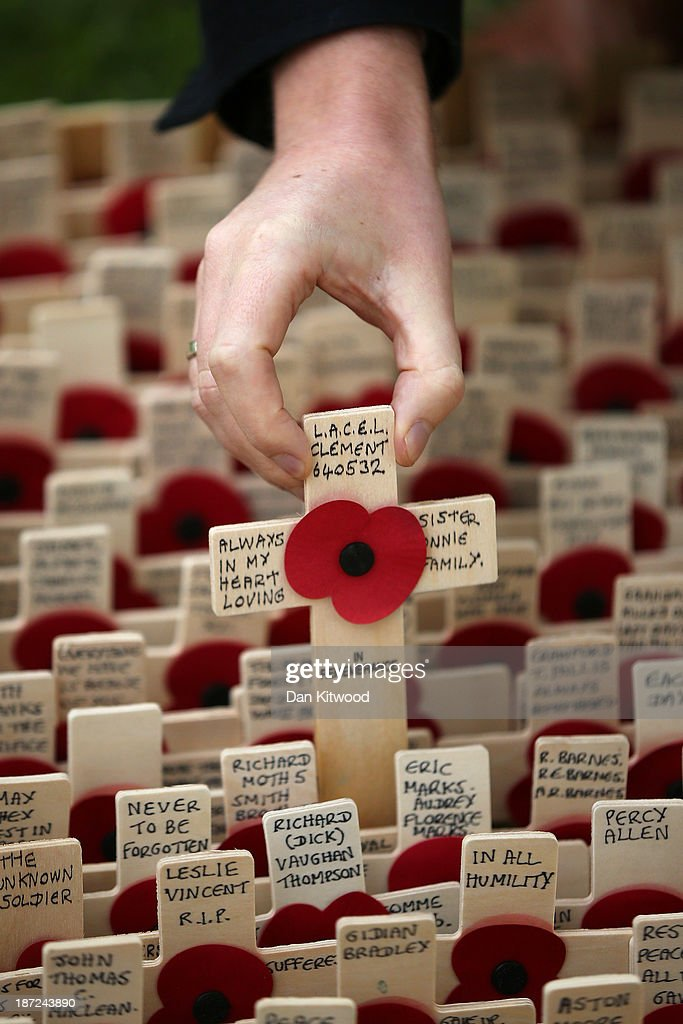 A member of the public places a remembrance cross outside Westminster Abbey after the official opening of the Royal British Legion's Field of Remembrance on November 7, 2013 in London, England. Hundreds of small crosses bearing a poppy have been planted in the Field of Remembrance to pay tribute to British servicemen and women who have lost their lives in conflict.