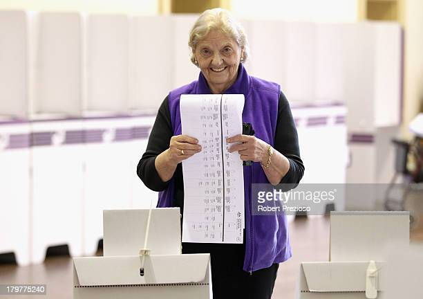 A member of the public prepares to vote in the electorate of Adelaide on election day on September 7 2013 in Adelaide Australia Voters head to the...