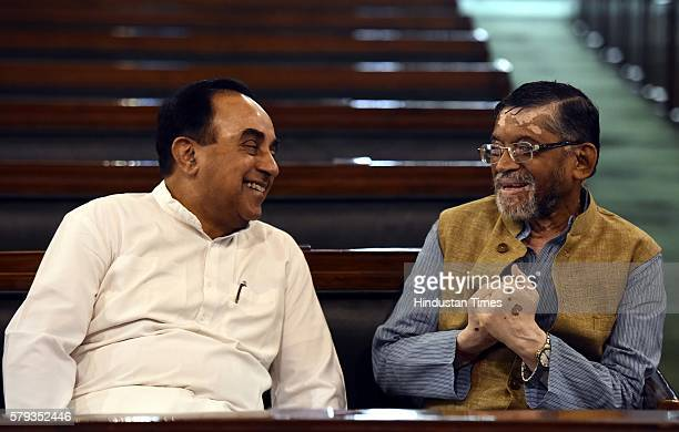 Member of the Rajya Sabha Subramanian Swamy with Minister of State for Finance Santosh Gangwar after paying floral tributes to Lokmanya Bal Gangadhar...