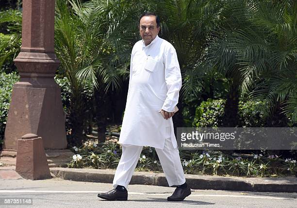 Member of the Rajya Sabha the Upper House of the Parliament Subramanian Swamy after attending the Parliament Monsoon Session on August 8 2016 in New...
