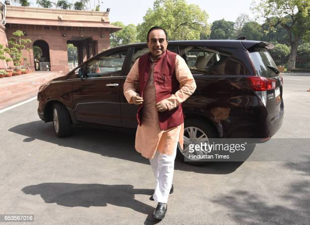 member of the Rajya SabhaSubramanian Swamy arrive for the attending Parliament Budget Session Part 2 on March 15 2017 in New Delhi India