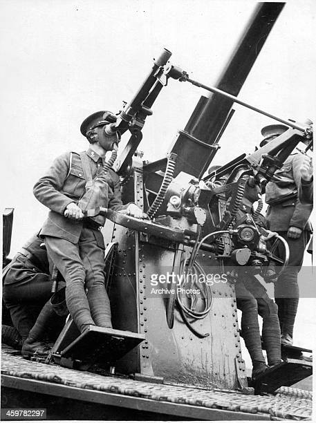 A member of the Royal Army Medical Corps trains on using the Antiaircraft gun in Aldorshot EnglandCirca 1930