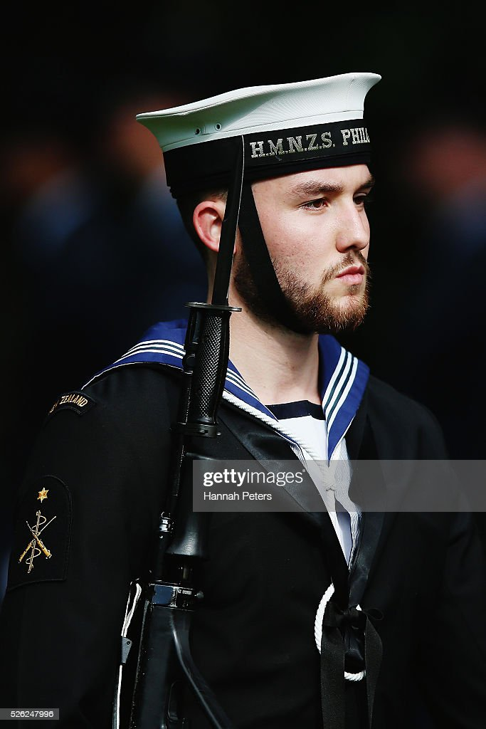 A member of the Royal New Zealand Navy arrives to welcome Indian President Shri Pranab Mukherjee during a ceremony of welcome at Government House on April 30, 2016 in Auckland, New Zealand. It is the first time an Indian President has visited New Zealand.