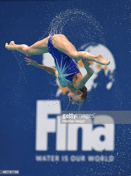 A member of the Russia team competes in the Women's Team Free Synchronised Swimming Preliminary on day four of the 16th FINA World Championships at...