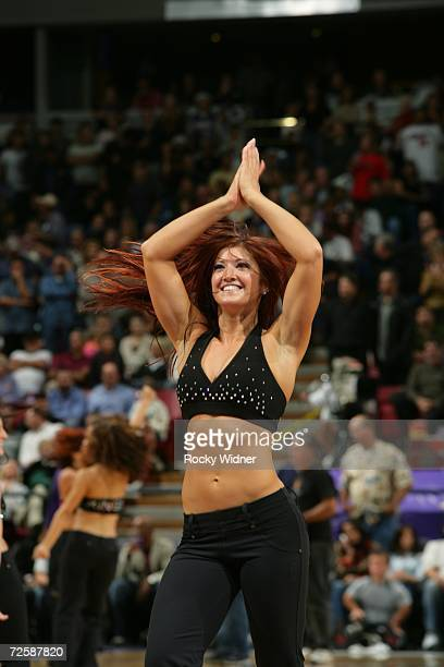 A member of the Sacramento Kings Dance Team performs during the game against the Detroit Pistons on November 8 2006 at ARCO Arena in Sacramento...