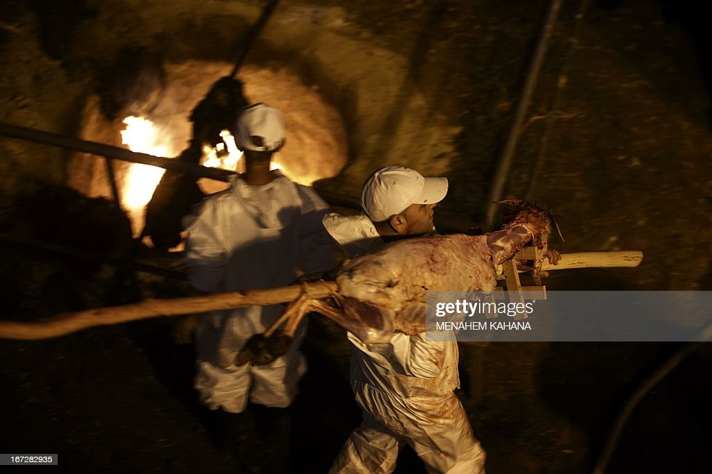 A member of the Samaritan community carries a slaughtered lamb during the traditional Passover sacrifice ceremony at Mount Gerizim near the northern West Bank city of Nablus on April 23 2013. The Samaritan community, comprising about 720 people, practices a religion that is based on the Torah -- the first five books of the Bible and one holy place. AFP PHOTO/Menahem Kahana