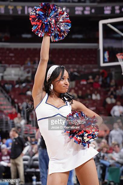 A member of the Sixers Dancers performs during the game between the Philadelphia 76ers and the Charlotte Bobcats at the Wachovia Center on November 7...