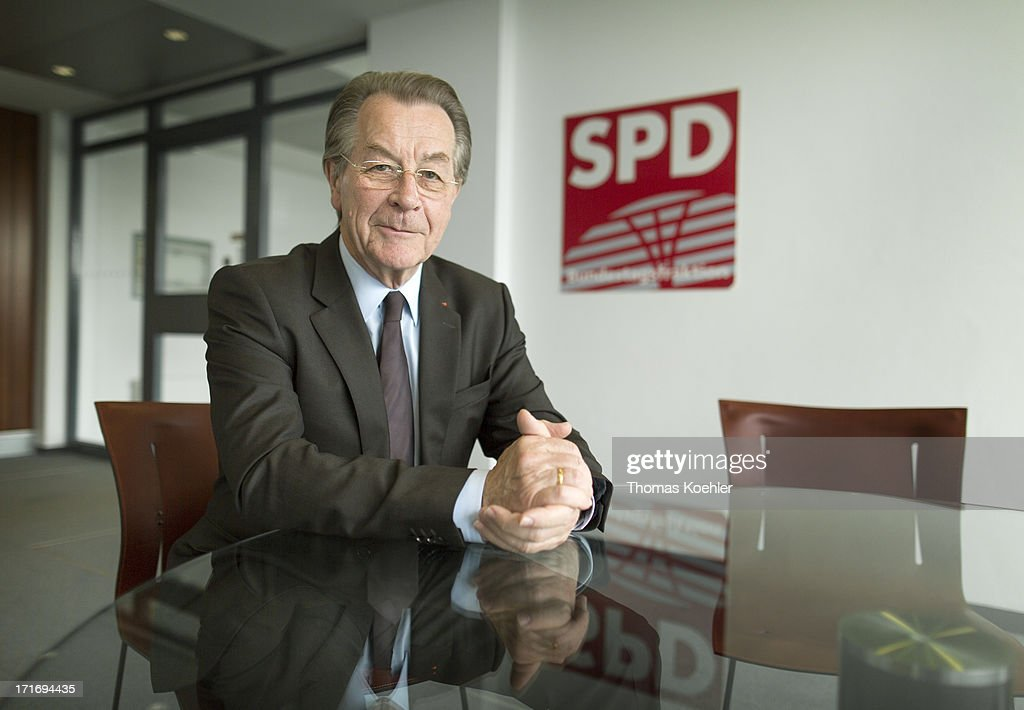 Member of the Social Democrat Party SPD <a gi-track='captionPersonalityLinkClicked' href=/galleries/search?phrase=Franz+Muentefering&family=editorial&specificpeople=214167 ng-click='$event.stopPropagation()'>Franz Muentefering</a> photographed on May 14, 2013 in Berlin, Germany.
