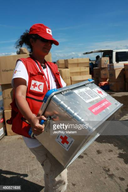 A member of the Spanish Red Cross staff carries a crate of Emergency Response Unit IT/Telecom modules for water treatment in support to the...