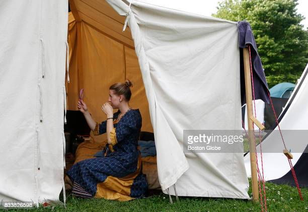 A member of the Succubi of Cairnhold Legion gets ready for The Succubus Sinful Soiree insider her tent at Ragnarok XXXII on June 22 2017 For one week...