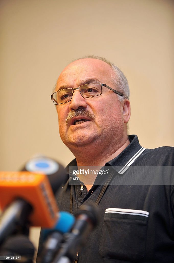 A member of the Syrian opposition Abdul Ahad Astephoa attends a press conference during a Syrian opposition meeting in Istanbul, on May 25, 2013.The main opposition National Coalition has met in Istanbul for three days trying to overcome deep divisions over Russian and US proposals to convene a conference to which representatives of President Bashar al-Assad would be invited without any formal precondition for him to step down.