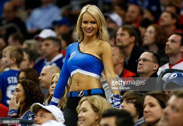 A member of the Tampa Bay Lightning cheerleading team against the Detroit Red Wings at the Tampa Bay Times Forum on February 8 2014 in Tampa Florida