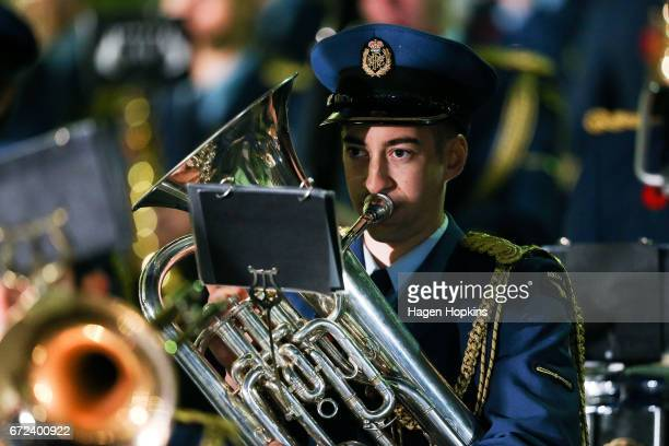 A member of the the Royal New Zealand Air Force Band plays during Anzac Day dawn service at Pukeahu National War Memorial Park on April 25 2017 in...