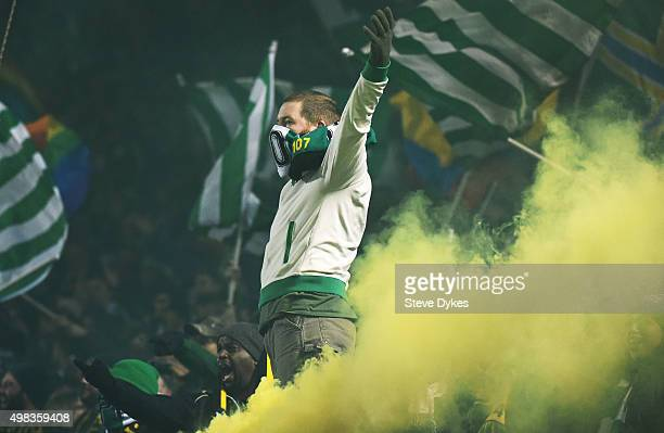 A member of the 'Timbers Army' the Portland Timbers fans celebrates after the Portland Timbers scored a goal during the first half of the match...