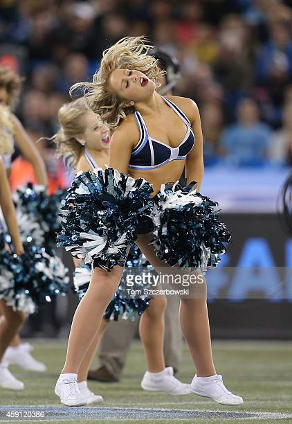 A member of the Toronto Argonauts cheerleaders performs during CFL game action against the Ottawa Redblacks on November 7 2014 at Rogers Centre in...