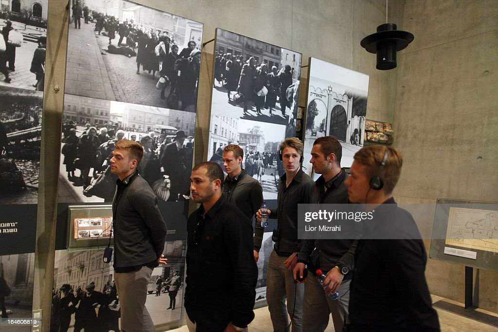Member of the U21 Germany football team seen during the visit of Yad Vashem on March 25, 2013 in Jerusalem, Israel. Yad Vashem is Israel's official memorial to the Jewish victims of the Holocaust.