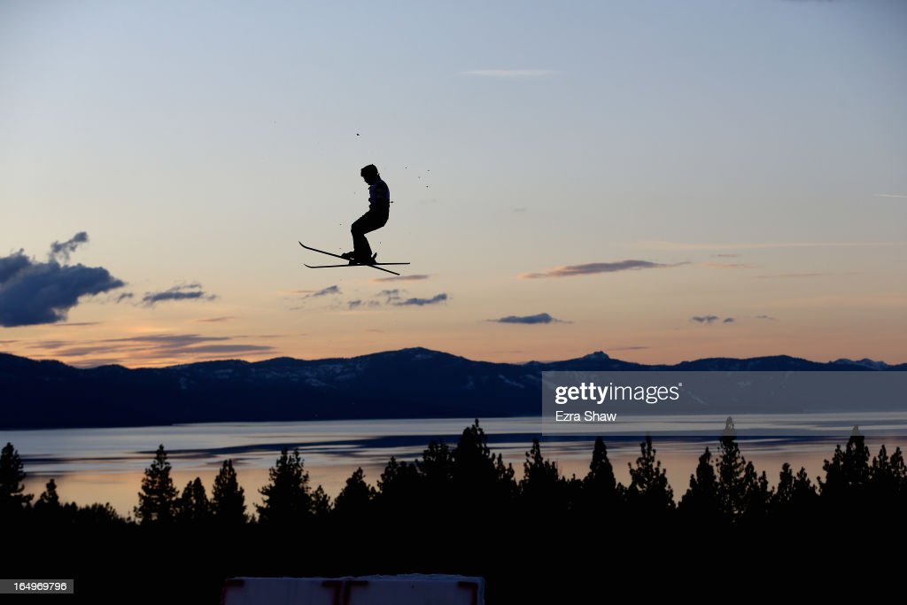 A member of the U.S. Freestyle Aerial practices for the U.S. National Championship at Heavenly Resort on March 29, 2013 in South Lake Tahoe, California. The aerial competition will take place tomorrow.