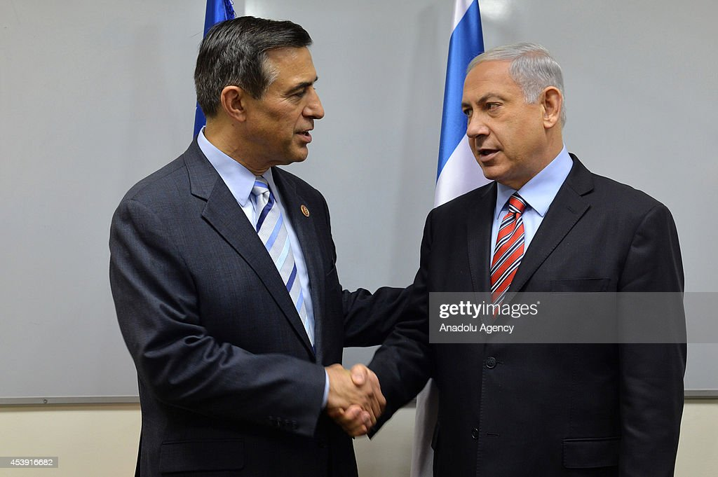A member of the U.S. House of Representatives Darrell Issa (L) meets with Prime Minister of Israel Benjamin Netanyahu (R) in Jerusalem, Israel on 21 August, 2014.