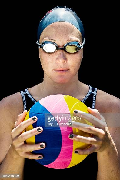 Member of the USA women's Water Polo team Courtney Mathewson is photographed for Los Angeles Times on June 20 2016 in Los Alamitos California...