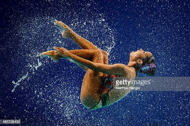 A member of the Venezuela team competes in the Women's Team Free Synchronised Swimming Preliminary on day four of the 16th FINA World Championships...