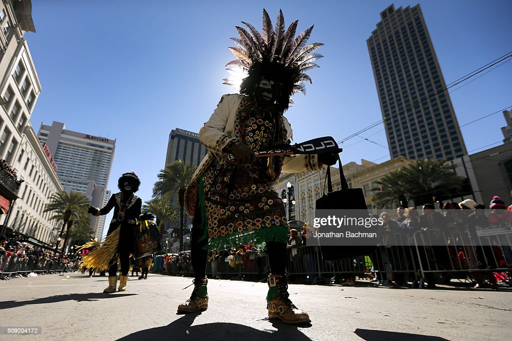 A member of the Zulu Social Aid and Pleasure Club parades down Canal Street during Mardi Gras day on February 9, 2016 in New Orleans, Louisiana. Fat Tuesday, or Mardi Gras in French, is a celebration traditionally held before the observance of Ash Wednesday and the beginning of the Christian Lenten season.