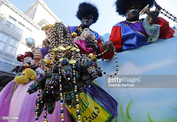 A member of the Zulu Social Aid and Pleasure Club parades down Canal Street during Mardi Gras day on February 9 2016 in New Orleans Louisiana Fat...