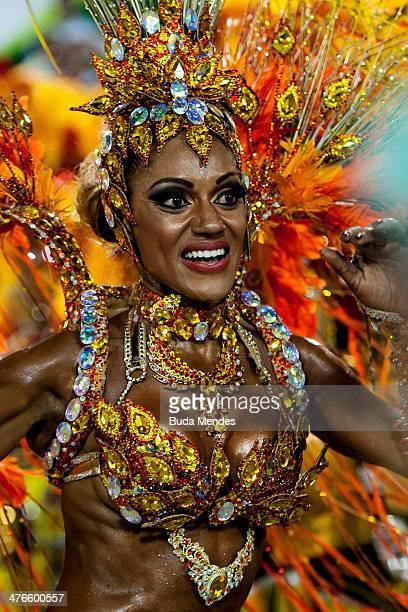 A member of Unidos da Tijuca Samba School during their parade at 2014 Brazilian Carnival at Sapucai Sambadrome on March 03 2014 in Rio de Janeiro...