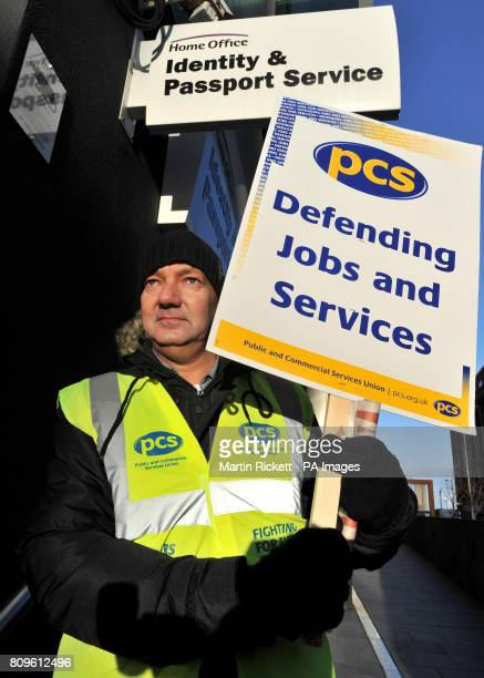 PCS member Rob Barton on the picket line outside the Identity and Passport service in Liverpool