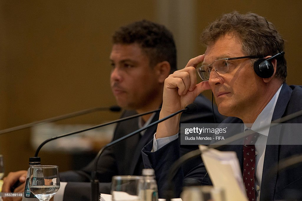 LOC Member Ronal do Nazario and FIFA Secretary General Jerome Valcke during the meeting for 2014 FIFA World Cup Host City Tour on March 7, 2013 in Rio de Janeiro, Brazil.