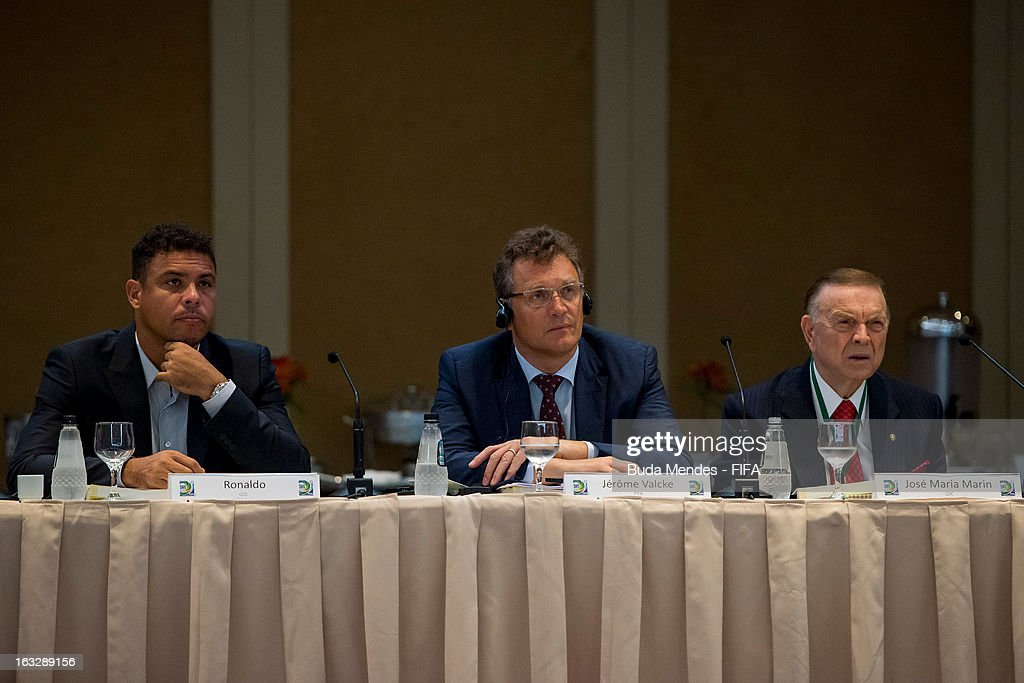 LOC Member Ronal do Nazario, FIFA Secretary General Jerome Valcke and CBF President Jose Maria Marin during the meeting for 2014 FIFA World Cup Host City Tour on March 7, 2013 in Rio de Janeiro, Brazil.
