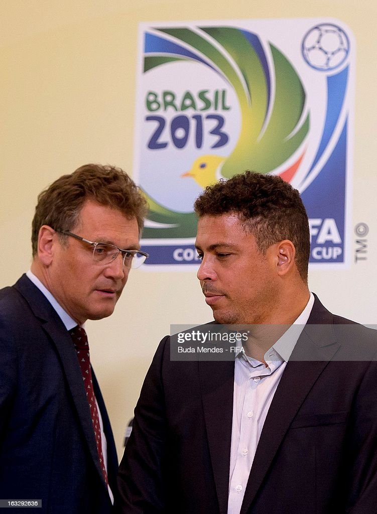 Member Ronaldo Lazario (R) and FIFA Secretary General <a gi-track='captionPersonalityLinkClicked' href=/galleries/search?phrase=Jerome+Valcke&family=editorial&specificpeople=4375385 ng-click='$event.stopPropagation()'>Jerome Valcke</a> attends a press conference during FIFA World Cup LOC Board Meeting on March 7, 2013 in Rio de Janeiro, Brazil.