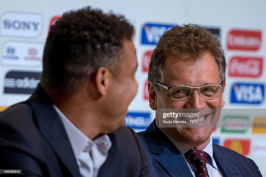 LOC Member Ronaldo Lazario and FIFA Secretary General <a gi-track='captionPersonalityLinkClicked' href=/galleries/search?phrase=Jerome+Valcke&family=editorial&specificpeople=4375385 ng-click='$event.stopPropagation()'>Jerome Valcke</a> attend a press conference during FIFA World Cup LOC Board Meeting on March 7, 2013 in Rio de Janeiro, Brazil.