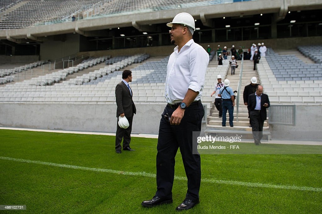 LOC Member Ronaldo Luis Nazario takes a tour of the Arena da Baixada during the 2014 FIFA World Cup Host City Tour on April 22, 2014 in Curitiba, Brazil