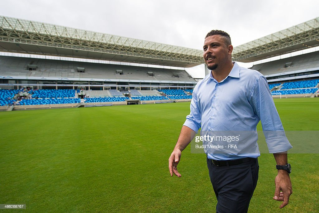 LOC Member Ronaldo Luis Nazario takes a tour of the Arena Pantanal during the 2014 FIFA World Cup Host City Tour on April 23, 2014 in Cuiaba, Brazil