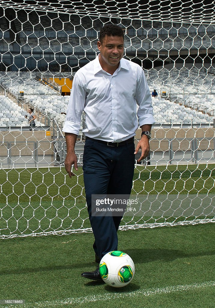 LOC member Ronaldo Nazario handles a soccer ball during a visit to Mineirao Stadium during the 2014 FIFA World Cup Host City Tour on March 6, 2013 in Belo Horizonte, Brazil.