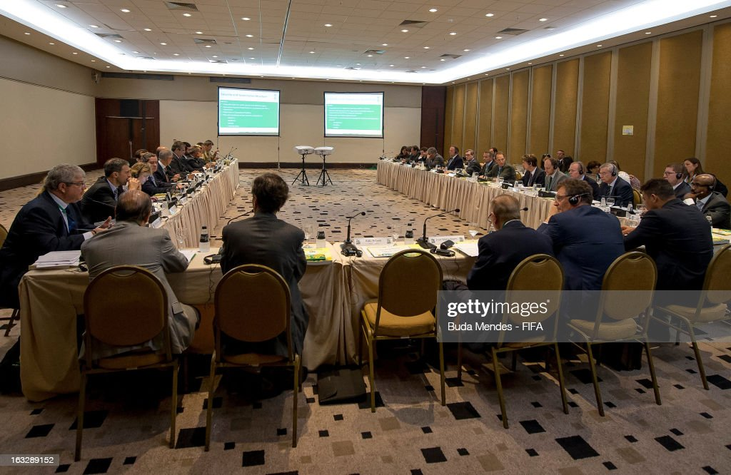 LOC Member Ronaldo Nazario (1st R), Jerome Valcke, FIFA Secretary General (2rd R) and Jose Maria Marin, CBF President (3rd R) attend the LOC Management Board Meeting during 2014 FIFA World Cup Host City Tour on March 7, 2013 in Rio de Janeiro, Brazil.