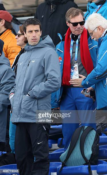 IOC member Tony Estanguet of France and Henri Grand Duke of Luxembourg attend the Men's Skiathlon 15 km Classic 15 km Free during day two of the...