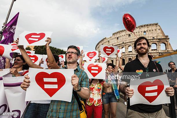 Members and supporters of lesbian gay bisexual and transgender community take part in the 21st annual Gay Pride Parade in Rome Tens of thousands of...