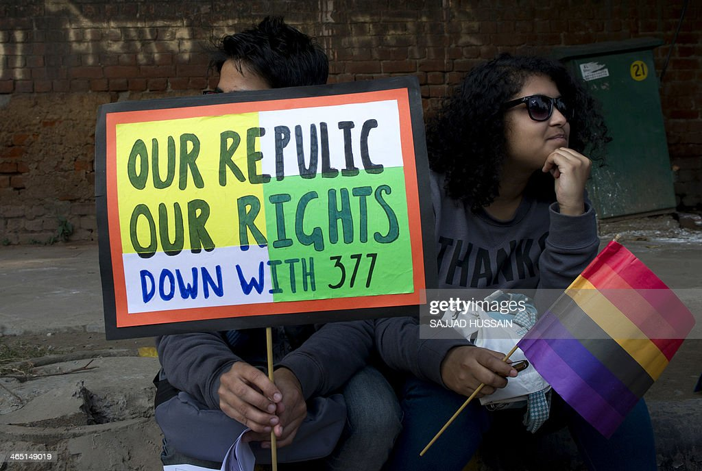 Members and supporters of the lesbian gay bisexual transgender community attend a joint rally with various progressive movements on India's 65th...