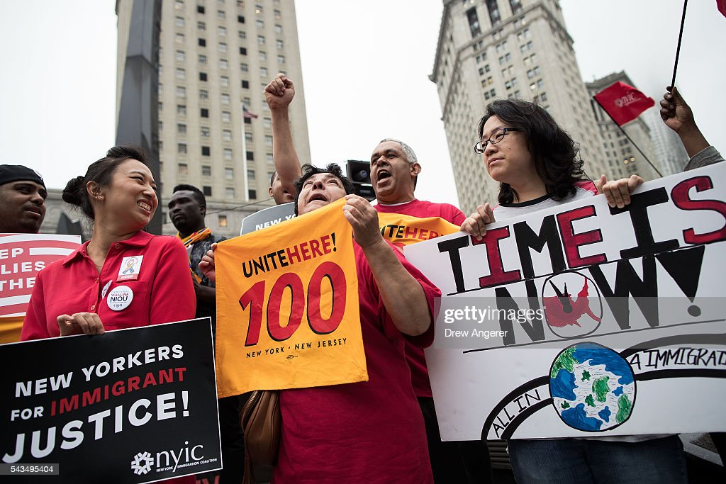 Members and supporters of the New York Immigration Coalition rally for immigration reform in Foley Square, June 28, 2016 in New York City, New York. Last week the U.S. Supreme Court deadlocked in a 4-4 decision concerning President Barack ObamaÕs immigration plan, which would have protected millions of undocumented immigrants from being deported. Because the Supreme Court was split, a 2015 lower-court ruling invalidating ObamaÕs executive action will stand.
