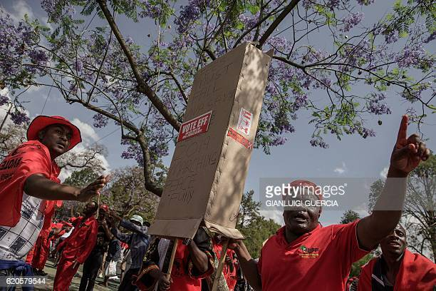 Members and supporters of the South African opposition party the Economic Freedom Fighters shout and gesture as they demonstrate against South...