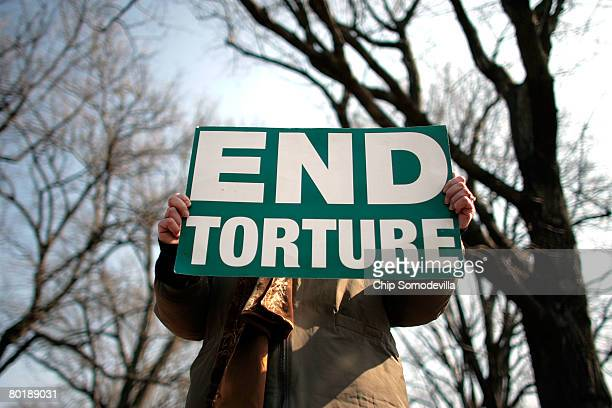 Members and supporters of The Washington Region Religious Campaign Against Torture hold a rally to 'demand Congressional action to stop torture' on...
