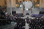 Members Bundestag observe a moment of slience to commemorate the victims of the crash of Germanwings flight 4U9525 prior to a plenary session on...