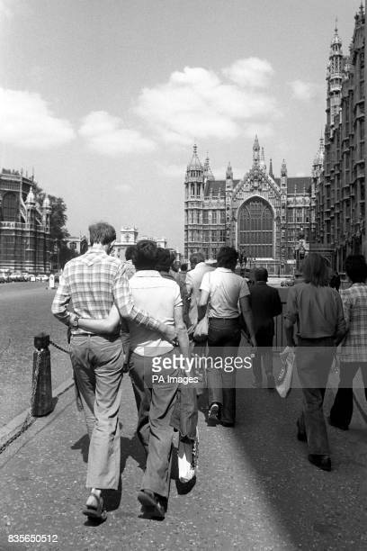 Members for the Campaign for Homosexual Equality en route to lobby their MPs at the House of Commons Westminster after a picnic in the nearby...